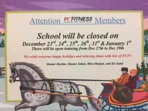 Kfitness Vancouver Christmas Holidays school schedule